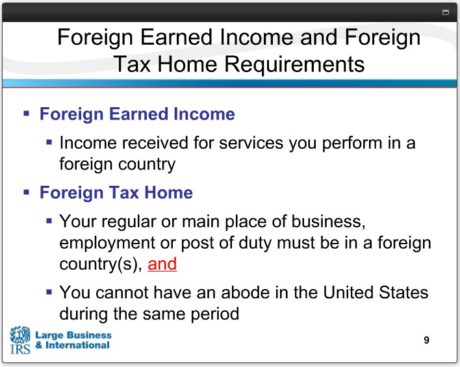 FEIE TAX HOME REQUIREMENT