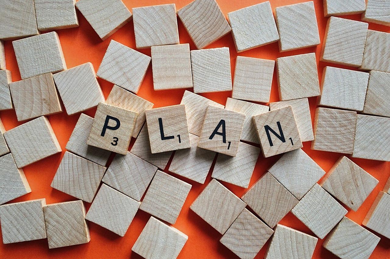 Plan spelled by blocks