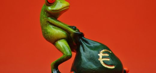 Foreign money bag pulled by a frog